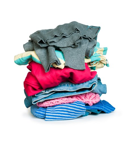 Pile of clothes white isolated