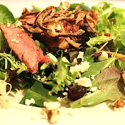 Organic Steak Salad with Onion Straws Recipe