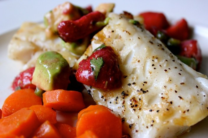 Wild grilled cod with organic strawberry salsa recipe for Grilled cod fish recipe