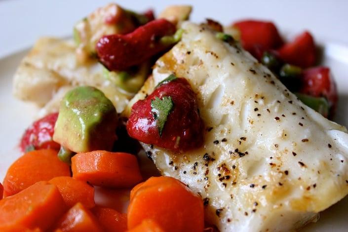 Wild Grilled Cod With Organic Strawberry Salsa Recipe ...