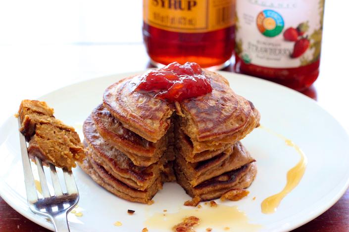 Organic flourless peanut butter jelly pancake recipe gluten free pb j pancakes ccuart Images
