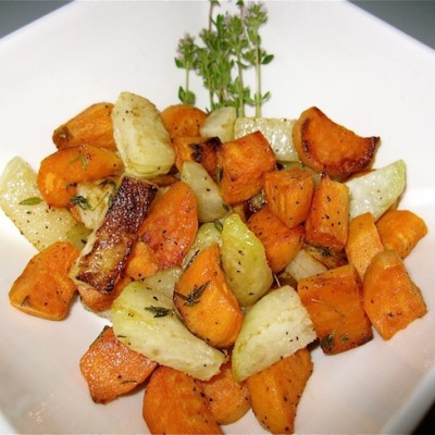 Roasted Organic Kohlrabi and Sweet Potatoes Recipe