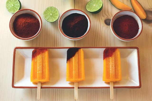 Tequila-Spiked Mango Popsicles with Chili
