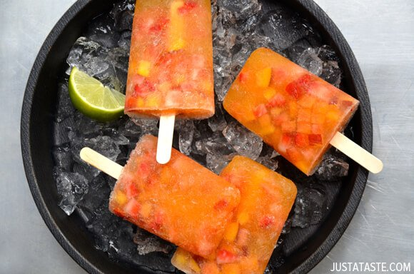 White Peach Sangria Popsicles